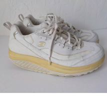 Skechers Sneakers White Shape Ups Women 9M Laces Up Toning Walking Leather  - $34.65