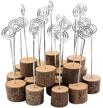 Wooden Base Place Card Holders, Dedoot Rustic Real Wood Base Table Numbe... - $20.76