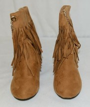 Styluxe Scream Tan Suede Girls 13 Fringe Boots With Chain Plus 3 Charms image 2