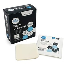 Medpride Foam Dressings- 10 Pack, 4 Inch by 4.25 Inches Size - Sterile, Hydrophi