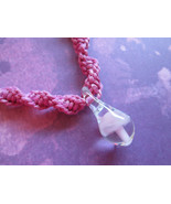 Handmade Pink Hemp Necklace with Awesome Hand Blown Glass Pink Mushroom ... - $17.00