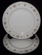 2 Royal Crown China Japan Dinner Plates Pink Floral Flower Silver Trim - $32.66
