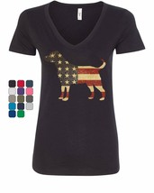American Dog Women's V-Neck T-Shirt Stars and Stripes Retriever Bulldog ... - $14.92+