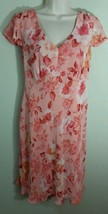 Motherhood Maternity Chiffon Pink Floral Tie Back Dress Sz M Medium Flut... - $19.99