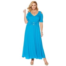 Liz Lange Cold-Shoulder Ultimate Maxi Dress Jersey Knit Cornflower M NEW... - $659,82 MXN