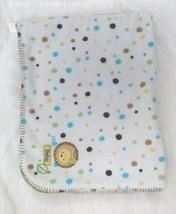 Just Born Lion Green White Polka Dot Baby Blanket Soft Fleece Boy Girl B67 - $14.99