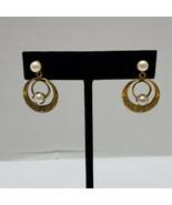Simulated Pear Stud Earrings Gold Tone Hoop Vintage - $18.80