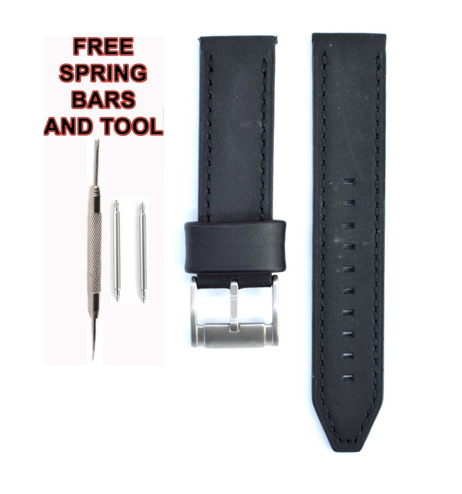 Fossil ME3056 22mm Black Leather Watch Strap Band FSL107 - $28.71