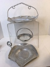 Lot 3 Vtg Hand Forged Aluminum Serving Divided Dish With Handle Tray Basket - $26.00