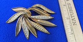 Vintage Leaf Brooch Pin Gold Tone Metal w/ Rhinestones & Faux Pearls Sig... - $16.92