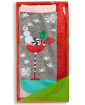 HUE 2-pack Footsie Socks Gift Box Snowman Cocktail - $9.79