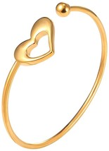 Girls Fashion Skinny Heart Bangle 18K Gold Plated Round Open Cuff Bracelet Women - $32.65