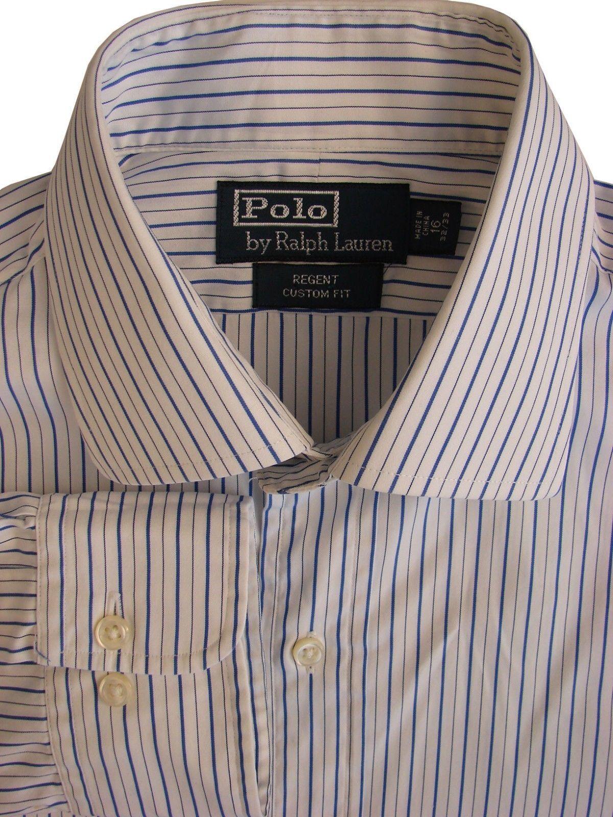 50ea6e66f S l1600. S l1600. Previous. RALPH LAUREN POLO Shirt Mens 16 M Blue - White  Stripes REGENT CUSTOM FIT