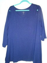 QVC Belle by Kim Gravel Blue Knit Top w/Asymmetrical Hem Size XL Open Sh... - $18.81