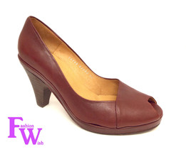 New COCLICO Size 7.5 Dark Red POLLY Peep Toe Heels Pumps Shoes 38 - $74.00