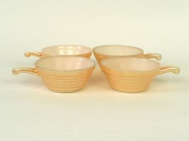 4 VTG Anchor Hocking Fire King Oven Ware Peach Luster Beehive Soup Bowls... - $25.00