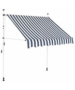 "vidaXL Manual Retractable Awning 59"" Blue and White Stripes Shade Sun Sh... - $113.99"
