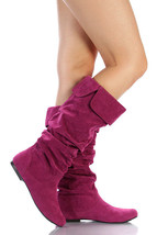 Berry Purple Faux Suede Slouchy Knee High Flat Boot Qupid Neo-100xx - $14.99