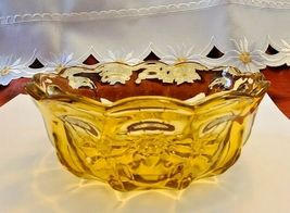 Vintage Amber 6.5 Inch Glass Candy Nut Bowl Thumbprint Design with Scalloped Rim image 5