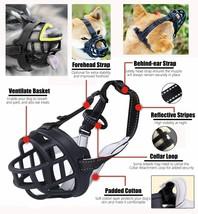 Barkless Soft Basket Silicone Dog Muzzle, Black, Size 2