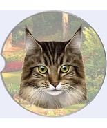 Maine Coon Cat Car Coaster Absorbent Keep Cup Holder Dry Stoneware New K... - $11.87