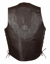 MEN'S MOTORCYCLE BROWN SKULLS & WINGS EMBROIDERED LEATHER VEST W/SIDE LA... - $60.76+