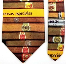 Ralph Marlin Novelty Tie Size 56 Inches 1996 Cigars Brown Tan & More Mad... - $17.77