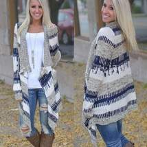 Loose Tribal Print Knitted Women Cardigan - $27.00