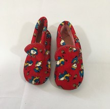 Vintage 1970's Red With Blue And Yellow Birds, Baby Slippers Size 6 - $9.46