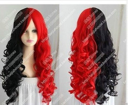 2017 Halloween Harley Quinn Wig Black And Red Long Curly Hair Cosplay Wig - $23.75