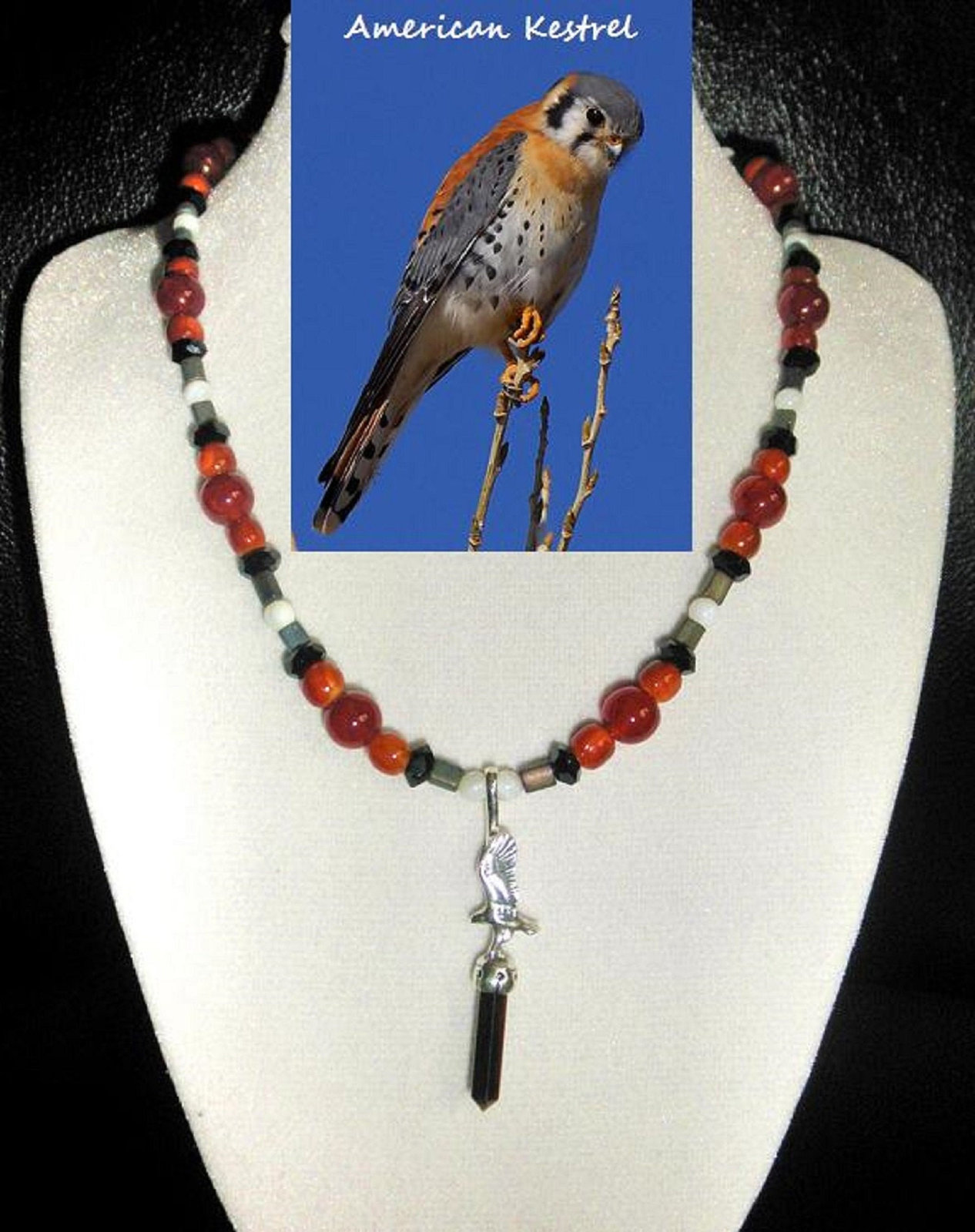 Primary image for American Kestral custom artisan handcrafted  genuine fire agate, jet, cherry amb