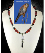 American Kestral custom artisan handcrafted  genuine fire agate, jet, ch... - $80.00