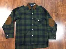 VTG Woolrich Shirt/Jac Jacket Button Light Wool L Elbow Patches (Tag sta... - $56.99