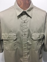Carhartt Mens 2XL Beige Khaki Short-Sleeve Cotton Blend Button-Front Shirt - $35.77
