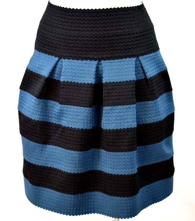 Primary image for Girls From Savoy Pleated Skirt Anthropologie Blue Black Striped XS S Knee Length