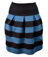 Girls From Savoy Pleated Skirt Anthropologie Blue Black Striped XS S Kne... - $19.79