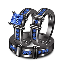 14k Black Gold Finish Blue Sapphire His & Her Wedding Ring Trio Set & Free Gift - $142.75
