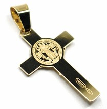 SOLID 18K YELLOW GOLD FLAT CROSS WITH JESUS & SAINT BENEDICT MEDAL, 28 mm image 2