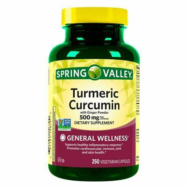 Spring Valley Turmeric Curcumin 500mg w/ 50 mg Ginger Powder 250 Ct EXP 2022 - $18.71