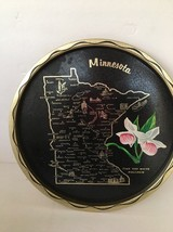 Collectors Tray Minnesota Tole Pink White Moccasin Flower State Towns Ci... - $14.84