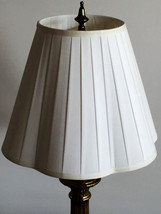 """Pleated White Cloth Covered Lamp Shade ~ 11"""" x 7"""" x 14"""" - $11.87"""