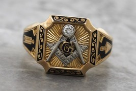 Men's Antique Estate 14K Yellow Gold Diamond Enamel Freemason Blue Lodge... - $467.46