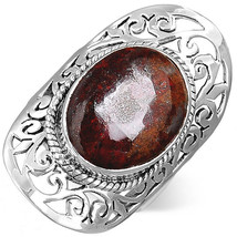 925 Sterling Silver Filigree Ring Jasper Gemstone Chunky Womens Size 6 - $15.87