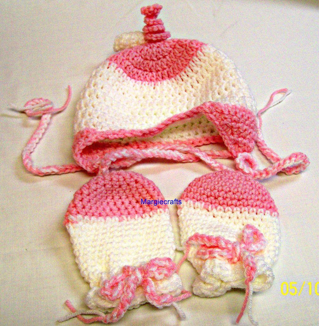 Pink white baby hat mittens  1
