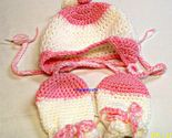 Pink white baby hat mittens  1 thumb155 crop