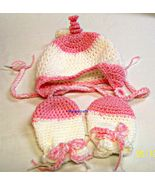 Baby Girl Clothing, Hat, Mittens, Crochet, Handmade, 3-6 Months, Baby Accessory - $22.00