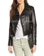 Belted Women Cropped Motorcycle Leather Jacket