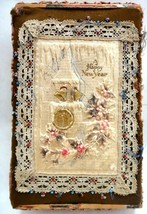 antique VICTORIAN CRAFT CIGAR BOX beads HAPPY NEW YEAR art - $124.95