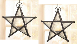 Two (2) wrought iron frame white glass hanging star candleholder lantern... - $21.00