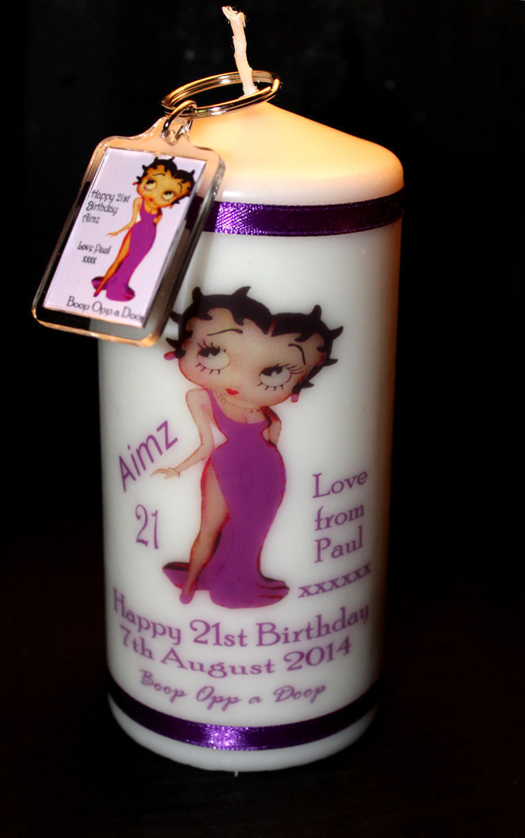 White Wax Cellini Candles Personalised Betty Boop Candle gift and key ring #1